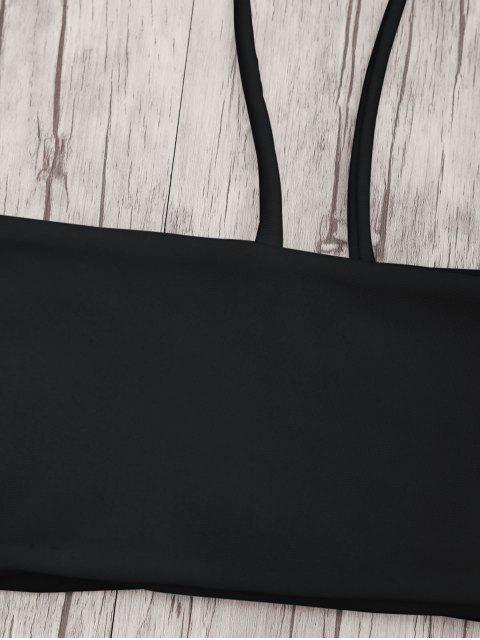 chic Bandeau Bikini Top and Tieside String Bottoms - BLACK L Mobile