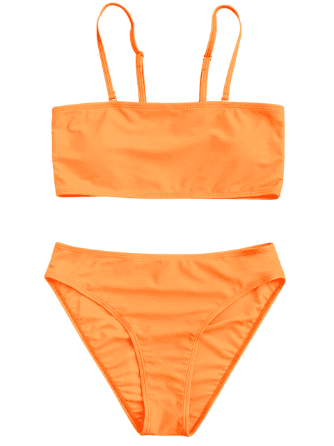 affordable Padded High Cut Bandeau Bikini Set - ORANGE M Mobile