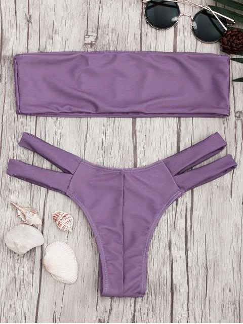 women Strapless Bandeau Bikini Top and Cutout Bottoms - PURPLE M Mobile