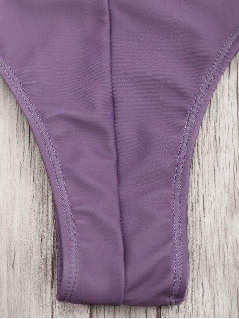 women Strapless Bandeau Bikini Top and Cutout Bottoms - PURPLE M Mobile