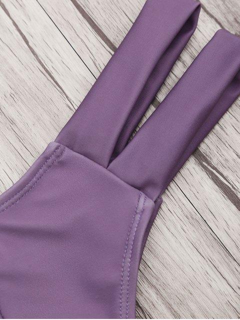 women's Strapless Bandeau Bikini Top and Cutout Bottoms - PURPLE S Mobile