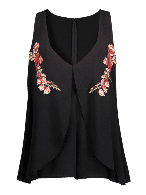 ladies Layered Floral Embroidered Patchs Romper - BLACK L Mobile