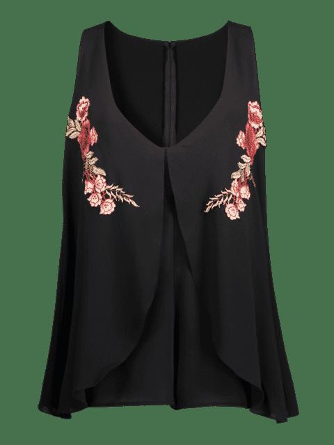 Patchs brodés floraux en couches Romper - Noir S Mobile