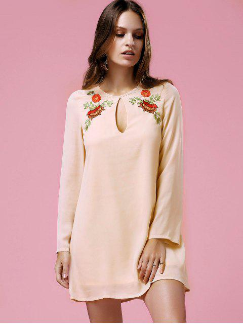fancy Loose Printed Round Neck Long Sleeve Dress - SHALLOW PINK XL Mobile
