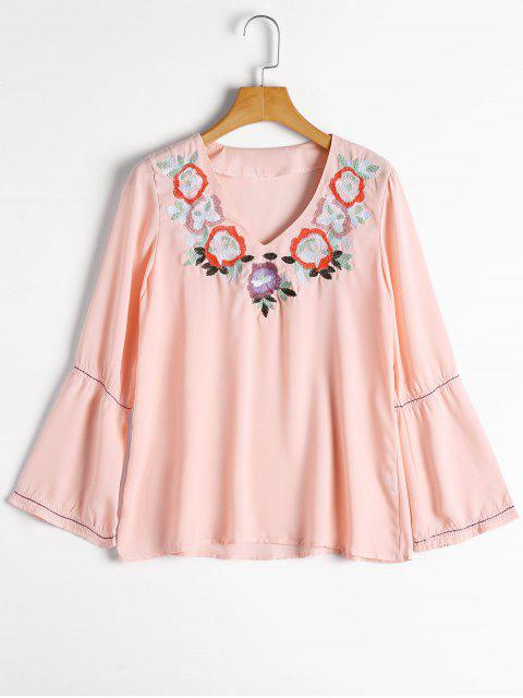 hot Flare Sleeve Floral Embroidered Blouse - PINK S Mobile