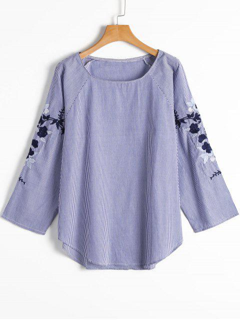 shop Stripes Floral Embroidered Sleeve Blouse - STRIPE S Mobile