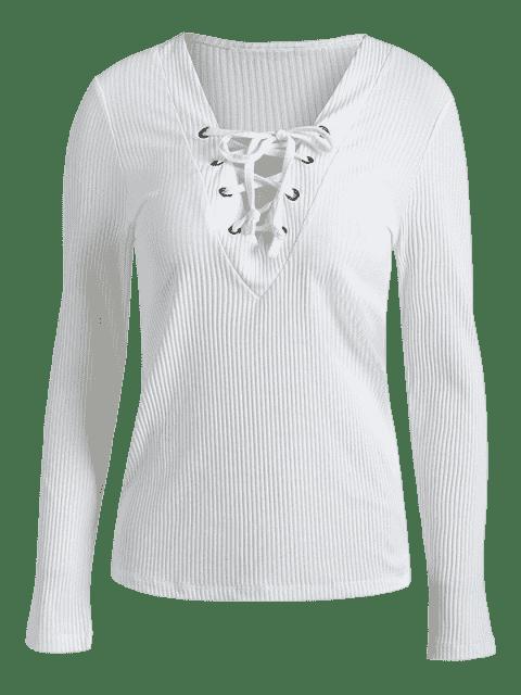 Col en V à manches longues en dentelle Up T-Shirt - Blanc S Mobile
