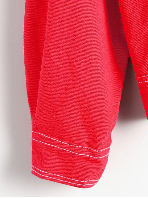 affordable Oversized High Low Denim Jacket - RED L Mobile