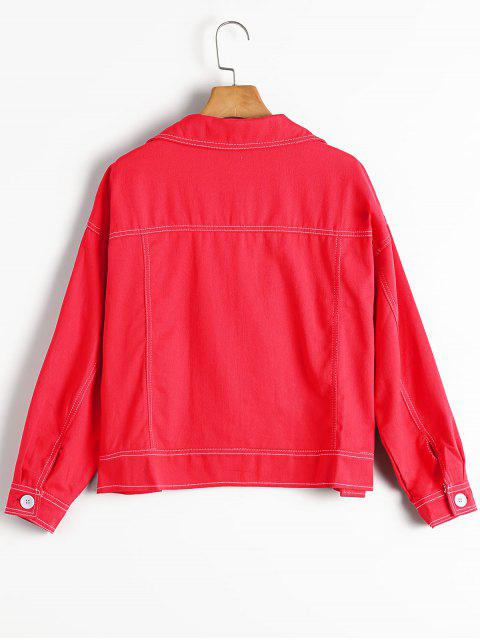buy Oversized High Low Denim Jacket - RED M Mobile
