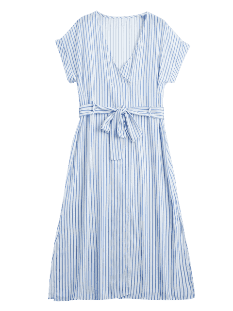fancy Stripes Belted Half Buttoned Midi Dress - STRIPE M Mobile