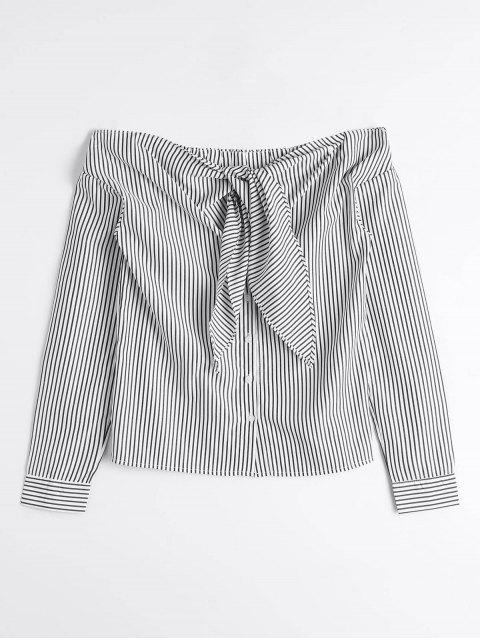 best Stripes Bow Tie Off Shoulder Blouse - STRIPE M Mobile