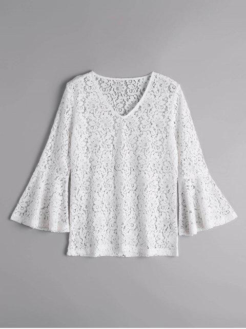 ladies Flare Sleeve Sheer Lace Blouse - WHITE M Mobile
