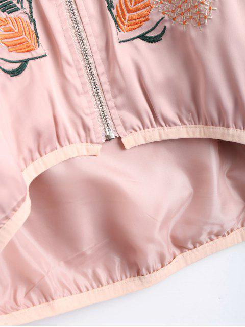 affordable Floral Embroidered High Low Bomber Jacket - PINK M Mobile
