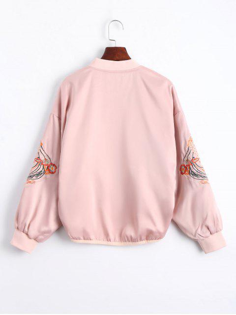 women Floral Embroidered High Low Bomber Jacket - PINK S Mobile