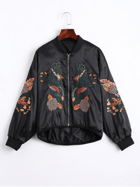 trendy Floral Embroidered High Low Bomber Jacket - BLACK M Mobile