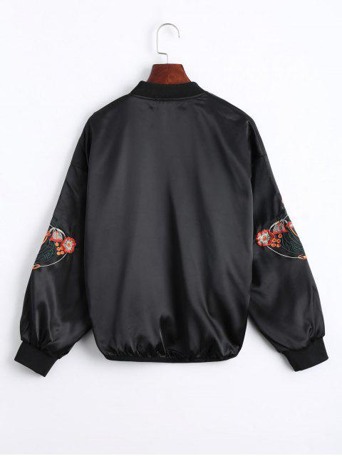 chic Floral Embroidered High Low Bomber Jacket - BLACK S Mobile