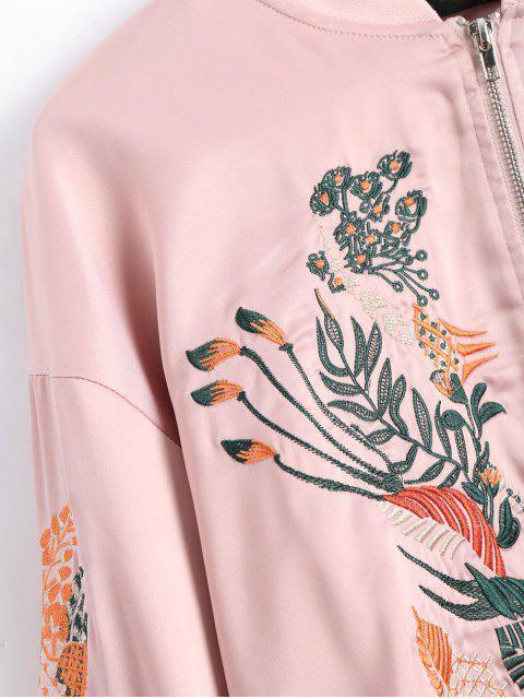 fancy Floral Embroidered High Low Bomber Jacket - PINK L Mobile