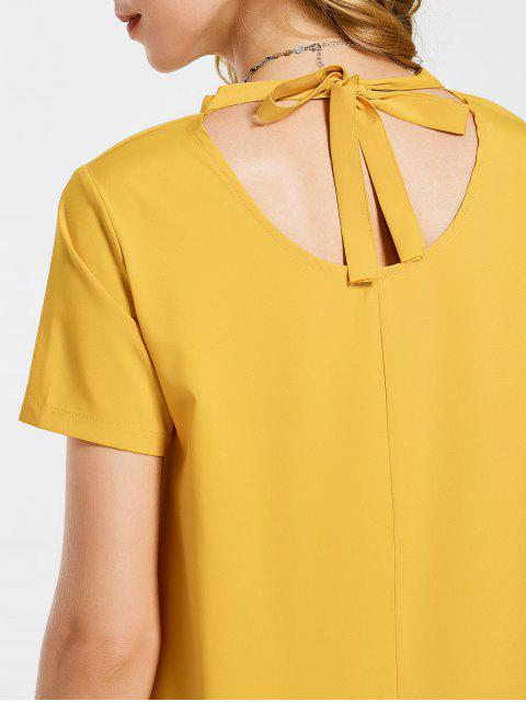 outfits Bow Tie Mini Tunic Dress - YELLOW L Mobile