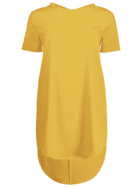 Bow Tie Mini Tunic Dress - Jaune M Mobile