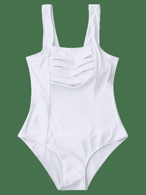 Maillot de bain plissé en une seule pièce - Blanc L Mobile