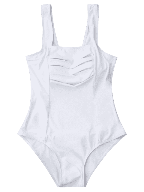 lady Shaping Square Neck Pleated One Piece Swimsuit - WHITE M Mobile