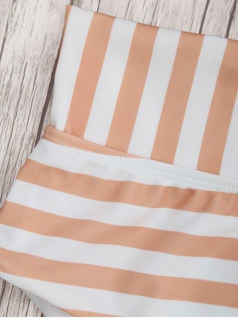 trendy Bandeau Striped High Waisted Bikini Set - ORANGEPINK S Mobile