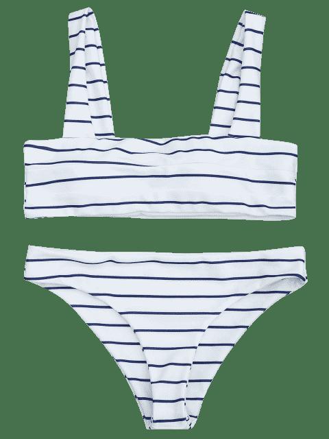 women's Nautical Striped Square Neck Padded Bikini Set - BLUE AND WHITE M Mobile