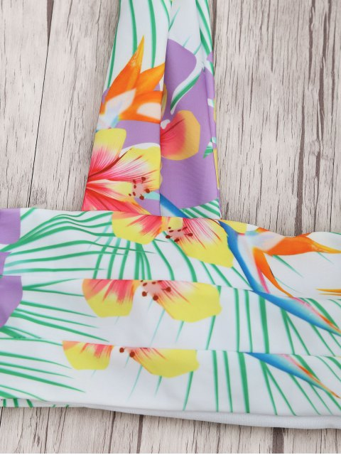 Ensemble de bikini Bandeau à imprimé tropical très large - Floral S Mobile