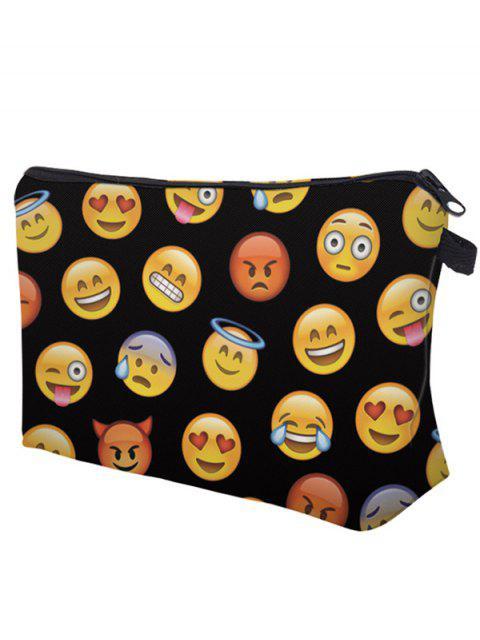outfits Emoji Print Makeup Bag - BLACK  Mobile