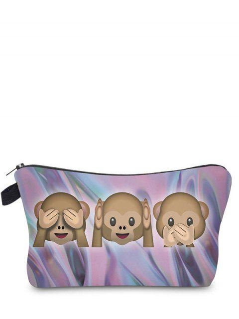 latest Emoji Print Makeup Bag - DARK VIOLET  Mobile