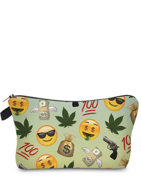 trendy Emoji Print Makeup Bag - LIGHT GREEN  Mobile