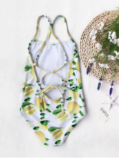 trendy Lemon Print Kids Strappy One Piece Swimsuit - WHITE AND YELLOW 7T Mobile