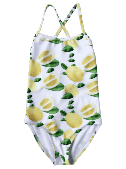 fashion Lemon Print Kids Strappy One Piece Swimsuit - WHITE AND YELLOW 8T Mobile