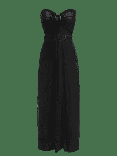 best Twist Halter Cut Out Maxi Dress - BLACK 2XL Mobile