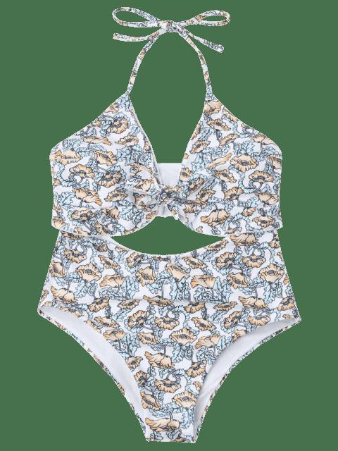 sale Poppy Print Cut Out One Piece Swimsuit - FLORAL XL Mobile