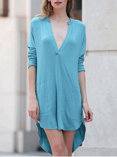 fancy Low Cut Long Sleeve Plunge Dress - LAKE BLUE 2XL Mobile