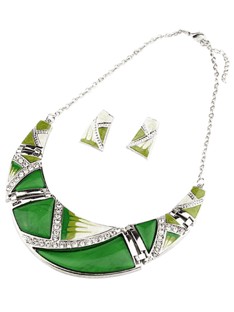 lady Boho Geometrical Spliced Faux Gem Necklace and Earrings - GREEN  Mobile