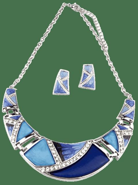 Boho Collier et boucles d'oreilles géométriques en faux morceaux - Bleu  Mobile