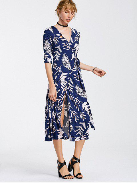 Feuilles imprimées Mid Calf Wrap Dress - Bleu Foncé XL Mobile