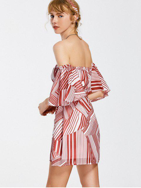 new Belted Striped Dress with Hair Band - RED ONE SIZE Mobile