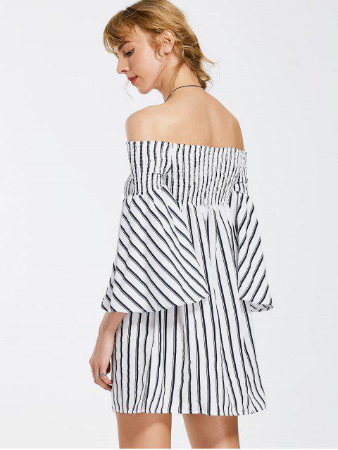 shops Off The Shoulder Flare Sleeve Striped Dress - STRIPE S Mobile