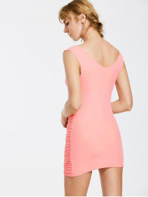 affordable Floral Patched Sleeveless Bodycon Dress - PINK ONE SIZE Mobile