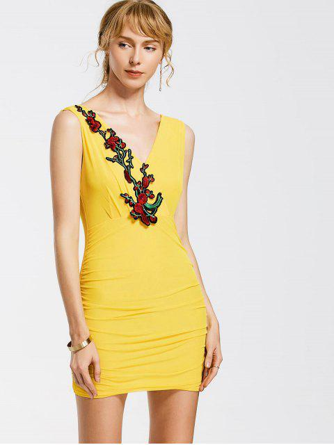 women's Floral Patched Sleeveless Bodycon Dress - YELLOW ONE SIZE Mobile