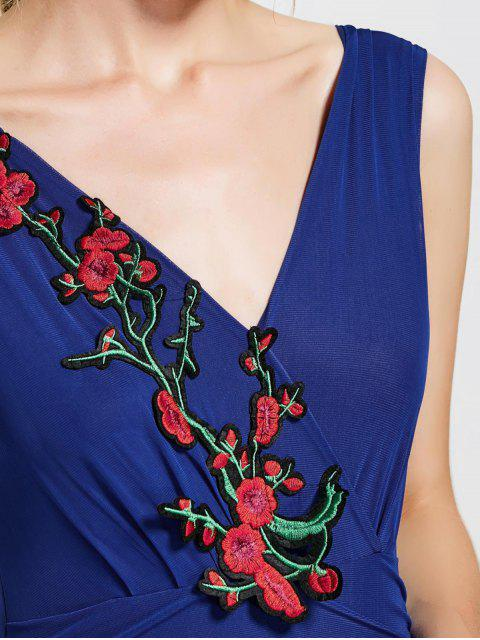 lady Floral Patched Sleeveless Bodycon Dress - BLUE ONE SIZE Mobile