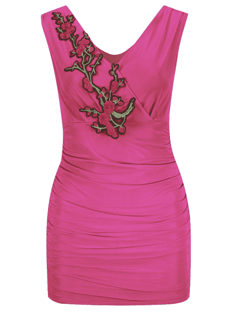 online Floral Patched Sleeveless Bodycon Dress - ROSE RED ONE SIZE Mobile
