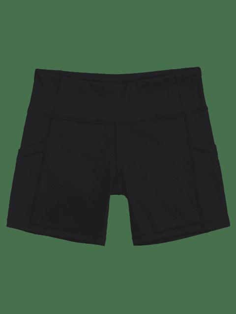 women's Active Pockets Workout Shorts - BLACK S Mobile