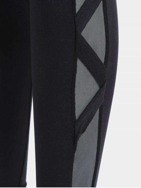 hot Bandage Mesh Workout Leggings - BLACK S Mobile