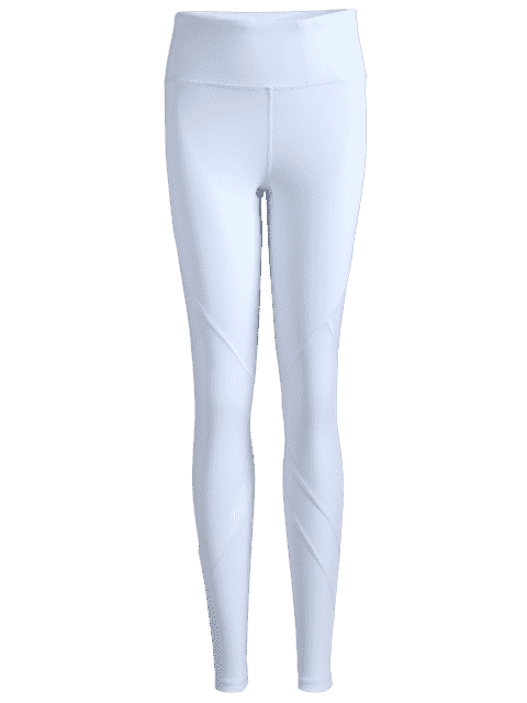 shop Mesh Stretchy Workout Leggings - WHITE S Mobile