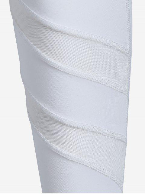 trendy Thigh Mesh Fit Sports Leggings - WHITE S Mobile