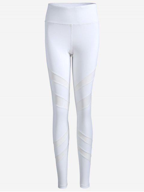 trendy Thigh Mesh Fit Sports Leggings - WHITE S Mobile